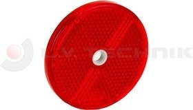 Red round reflector with a mounting hole