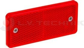 Red rectengular reflector with 2 mounting holes