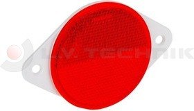 Red round reflector with mounting holes
