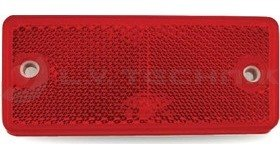 Red rectengular reflector with 2 mounting holes + adhesive tape