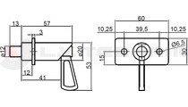 Lock handle 12mm